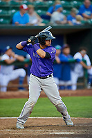 Javier Guevara (6) of the Grand Junction Rockies bats during a game against the Ogden Raptors at Lindquist Field on September 7, 2018 in Ogden, Utah. The Rockies defeated the Raptors 8-5. (Stephen Smith/Four Seam Images)