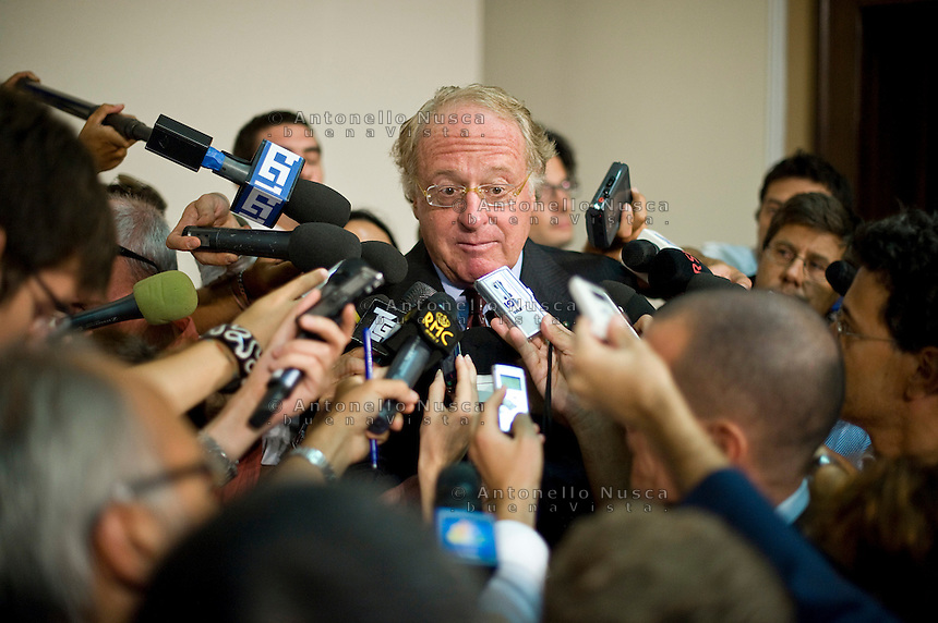 Paolo Scaroni, Ceo of Eni,The Italian Energy company, the biggest foreign investor in Libya, talk to the journalists after his meeting with the Deputy chairman of the National Transitional Council Executive Board Mahmoud Jibril, at the Prefecture Palace in Milan..Paolo Scaroni, Amministratore Delegato dell'Eni parla ai giornalisti nella Prefettura di Milano dopo l'incontro con  Il primo ministro del Consiglio nazionale transitorio libico Mahmoud Jibril.