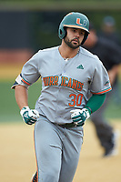Alex Toral (30) of the Miami Hurricanes rounds the bases after hitting a home run against the Wake Forest Demon Deacons at David F. Couch Ballpark on May 11, 2019 in  Winston-Salem, North Carolina. The Hurricanes defeated the Demon Deacons 8-4. (Brian Westerholt/Four Seam Images)