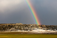 Rainbow over mesa in Wagon Mound, NM