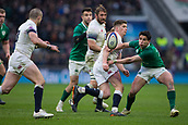 17th March 2018, Twickenham, London, England; NatWest Six Nations rugby, England versus Ireland; Kieran Marmion of Ireland tackles Owen Farrell of England