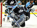 29 January 2010: University of Maine Black Bears' goaltender Scott Darling, a Sophomore from Lemont, IL, in second period action against the University of Vermont Catamounts at Gutterson Fieldhouse in Burlington, Vermont. The Black Bears defeated the Catamounts 6-3 in the first game of their America East weekend series. Mandatory Credit: Ed Wolfstein Photo