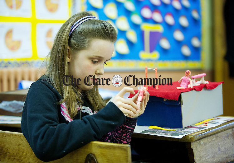 Clara Feeney of Inch competing at the Clare Community Games Art and Model Making finals in the CBS Ennis. Photograph by John Kelly.