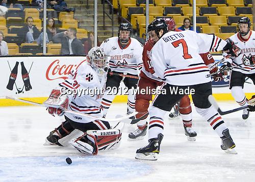 Clay Witt (Northeastern - 31), Anthony Bitetto (Northeastern - 7) - The Harvard University Crimson defeated the Northeastern University Huskies 3-2 in the 2012 Beanpot consolation game on Monday, February 13, 2012, at TD Garden in Boston, Massachusetts.