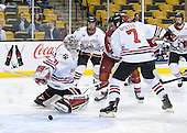 Clay Witt (Northeastern - 31), Anthony Bitetto (Northeastern - 7) - The Harvard University Crimson defeated the Northeastern University Huskies 3-2 in the 2012 Beanpot consolation game on Monday, February 13, 2012, at TD Garden in Boston, Massachusetts.
