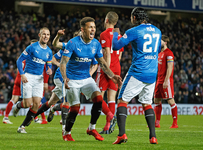 James Tavernier celebrates with Carlos Peña