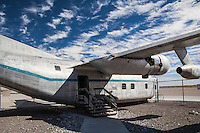 Parked at the Historic Wendover Airfield on the Utah Nevada border, this plane was one of three appearing in the 1997 movie, Con Air.  The airfield, however, is known for having been the training ground for the bombers, including Enola Gay, credited with ending WWII by dropping the atomic bomb on Japan.