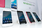 Samples of the new Y!mobile's smartphone Android One S1 on display during the launch event for Y!mobile's spring promotions on January 18, 2017, Tokyo, Japan. Y!mobile announced its new mobile devices (MediaPad T2 Pro, Pocket Wifi 603HW, Android One S1 and S2) and discount promotions for young users from January 20. (Photo by Rodrigo Reyes Marin/AFLO)