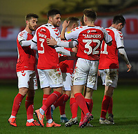 Fleetwood Town's Danny Andrew is congratulated on scoring his sides 2nd goal<br /> <br /> Photographer Dave Howarth/CameraSport<br /> <br /> Leasing.com Trophy Northern Section Round Three - Fleetwood Town v Accrington Stanley - Tuesday 7th January 2020 - Highbury Stadium - Fleetwood<br />  <br /> World Copyright © 2018 CameraSport. All rights reserved. 43 Linden Ave. Countesthorpe. Leicester. England. LE8 5PG - Tel: +44 (0) 116 277 4147 - admin@camerasport.com - www.camerasport.com