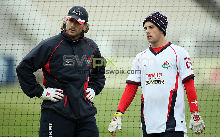PICTURE BY VAUGHN RIDLEY/SWPIX.COM - Cricket - Pre-Season Friendly - Lancashire v Yorkshire - Old Trafford, Manchester, England - 09/04/09...Copyright - Simon Wilkinson - 07811267706...Lancashire's Luke Sutton and Steven Mullaney.