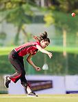 Captain Mariko Hill of Hong Kong Women's team bowls during Day 2 of Hong Kong Cricket World Sixes 2017 match between Hong Kong Women's Team vs The Dragons Team at Kowloon Cricket Club on 29 October 2017, in Hong Kong, China. Photo by Yu Chun Christopher Wong / Power Sport Images