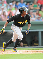 Greg Polanco of the West Virginia Power, a Pittsburgh Pirates affiliate, in a game against the Greenville Drive on May 19, 2012, at Fluor Field at the West End in Greenville, South Carolina. (Tom Priddy/Four Seam Images)