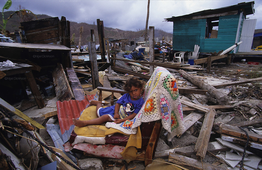Central America, Honduras, Roatan Islands. Devastation in the aftermath of Hurricane Mitch. High winds and flooding. Soil erosion caused by deforestation.  Refugees.