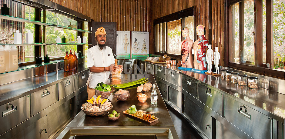 A gleaming stainless steel laboratory -- where Balinese healers brew up traditional potions -- marks a stark contrast to the organic materials throughout Fivelements.