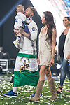 Real Madrid Sergio Ramos with his girlfriend Pilar Rubio and kids during the celebration of the 13th UEFA Championship at Santiago Bernabeu Stadium in Madrid, June 04, 2017. Spain.<br /> (ALTERPHOTOS/BorjaB.Hojas)