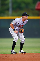 Jupiter Hammerheads shortstop Justin Bohn (10) during a game against the Lakeland Flying Tigers on April 14, 2016 at Henley Field in Lakeland, Florida.  Lakeland defeated Jupiter 5-0.  (Mike Janes/Four Seam Images)