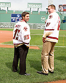 Joe Whitney (Boston College - player), Jimmy Hayes (Boston College - player) - A press conference hosted by the Hockey East Association, the Boston Red Sox and Fenway Sports Group was held on Thursday, August 20, 2009, at Fenway Park in Boston, MA, to announce that there would be a Hockey East college hockey doubleheader on Friday, January 8, 2010, held on the ice that will be used for the January 1, 2010 NHL Winter Classic.  The afternoon (4:00 pm EST) match will be between the Northeastern University Huskies (home team) and University of New Hampshire Wildcats women's teams while the evening (7:30 pm EST) match will be between the Boston College Eagles (home team) and the Boston University Terriers men's teams.