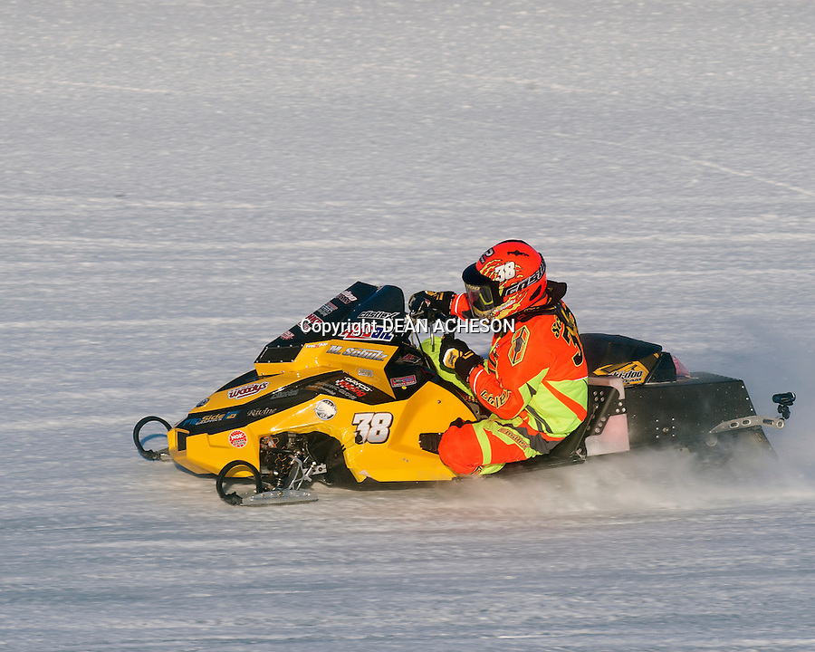 Matt Schulz of Tomahawk, WI wins the 2016 AMSOIL World Championship Derby on Jan. 17, 2016 on his #38 Ski-Doo in Eagle River, WI.
