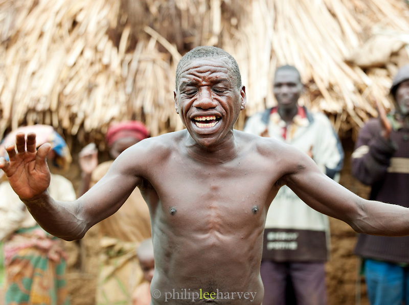 A village elder from a Batwa tribe performs at a welcome dance. The Batwa are a pygmy people who were the oldest recorded inhabitants of the Great Lakes region of central Africa. South West Uganda