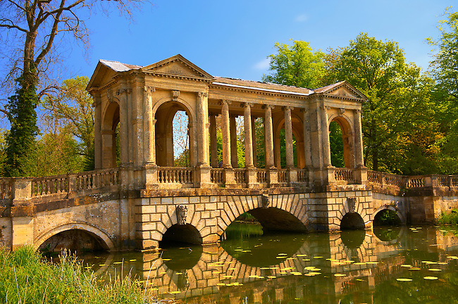 The Palladian Bridge 1774 designed by James Gibbs over the lake  in the English landscape gardens of Stowe, designed by Capability Brown. Buckingham, England