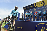 Vittorio Brumotti with Astana Pro Team at sign on before the start of Stage 2 The  Ras Al Khaimah Stage of the Dubai Tour 2018 the Dubai Tour&rsquo;s 5th edition, running 190km from Skydive Dubai to Ras Al Khaimah, Dubai, United Arab Emirates. 7th February 2018.<br /> Picture: LaPresse/Fabio Ferrari | Cyclefile<br /> <br /> <br /> All photos usage must carry mandatory copyright credit (&copy; Cyclefile | LaPresse/Fabio Ferrari)