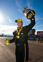Feb 24, 2019; Chandler, AZ, USA; NHRA pro stock driver Jeg Coughlin Jr celebrates after winning the Arizona Nationals at Wild Horse Pass Motorsports Park. Mandatory Credit: Mark J. Rebilas-USA TODAY Sports