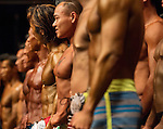 Bodybuilders gather on stage before the 2016 Hong Kong Bodybuilding Championships on 12 June 2016 at Queen Elizabeth Stadium, Hong Kong, China.  Photo by Victor Fraile / Power Sport Images