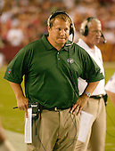Landover, MD - August 19, 2006 -- New York Jets head coach Eric Mangini watches the preseason action against the  Washington Redskins at FedEx Field in Landover, Maryland, Saturday, August 19, 2006.<br />