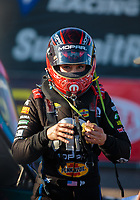 Feb 24, 2019; Chandler, AZ, USA; NHRA top fuel driver Leah Pritchett during the Arizona Nationals at Wild Horse Pass Motorsports Park. Mandatory Credit: Mark J. Rebilas-USA TODAY Sports