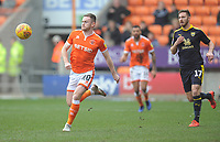 Blackpool's Oliver Turton under pressure from Oxford United's James Henry<br /> <br /> Photographer Kevin Barnes/CameraSport<br /> <br /> The EFL Sky Bet League One - Blackpool v Oxford United - Saturday 23rd February 2019 - Bloomfield Road - Blackpool<br /> <br /> World Copyright © 2019 CameraSport. All rights reserved. 43 Linden Ave. Countesthorpe. Leicester. England. LE8 5PG - Tel: +44 (0) 116 277 4147 - admin@camerasport.com - www.camerasport.com