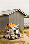 April 20, 2016. Rowland, North Carolina. <br />  Discarded bags of Pioneer brand seed corn.<br />  Bo Stone, age 44, runs a 2300 acre farm near the South Carolina border. After 5 generations of tobacco farming, Stone helped to move his family farm over to corn, wheat, soybeans, and strawberries 7 years ago. <br />  While his corn crop is entirely made up of stacked genetically modified strains of corn, Stone says he chose the varieties primarily for their yield characteristics, but having the ability to utilize their herbicide tolerant traits if a weed gets out of control is &quot;another tool in my toolbox&quot;.