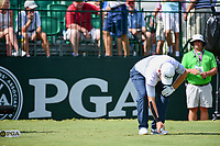Louis Oosthuizen (RSA) tees up his ball on 10 with his left arm taped up due to injury during Sunday's final round of the PGA Championship at the Quail Hollow Club in Charlotte, North Carolina. 8/13/2017.<br /> Picture: Golffile | Ken Murray<br /> <br /> <br /> All photo usage must carry mandatory copyright credit (&copy; Golffile | Ken Murray)