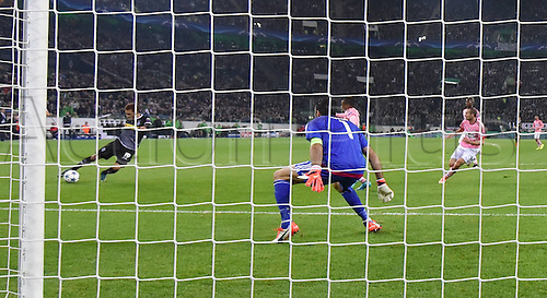 03.11.2015. Moenchengladbach, Germany, UEFA Champions League football group stages. Borussia Moenchangladbach versus Juventus. Fabian Johnson Borussia Moenchengladbach left scores against Goalkeeper Gianluigi Buffon Juventus for 1-0