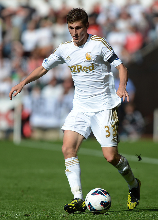 Swansea City's Ben Davies in action during todays match  ..Football - Barclays Premiership - Swansea City v Everton - Saturday 22nd September 2012 - Liberty Stadium - Swansea..