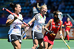 The Hague, Netherlands, June 13: Hannah Krueger #15 of Germany reacts to a play during the field hockey placement match (Women - Place 7th/8th) between Korea and Germany on June 13, 2014 during the World Cup 2014 at Kyocera Stadium in The Hague, Netherlands. Final score 4-2 (2-0)  (Photo by Dirk Markgraf / www.265-images.com) *** Local caption ***