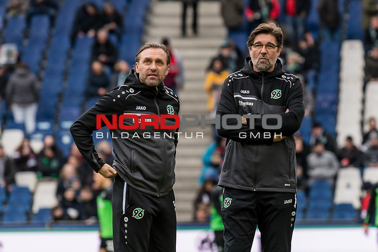09.02.2019, HDI Arena, Hannover, GER, 1.FBL, Hannover 96 vs 1. FC Nuernberg<br /> <br /> DFL REGULATIONS PROHIBIT ANY USE OF PHOTOGRAPHS AS IMAGE SEQUENCES AND/OR QUASI-VIDEO.<br /> <br /> im Bild / picture shows<br /> Thomas Doll (Trainer Hannover 96), Ralf Zumdick (Co-Trainer Hannover 96), <br /> <br /> Foto © nordphoto / Ewert