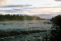 WATERFALL<br /> Rupert River rapids<br /> Northern Boreal forest in summer. Quebec, James Bay