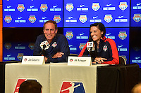Houston, TX - Saturday Oct. 08, 2016: Jim Gabarra, Ali Krieger during a press conference prior to the National Women's Soccer League (NWSL) Championship match between the Washington Spirit and the Western New York Flash at Houston Sports Park.