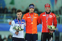 SPEED SKATING: STAVANGER: Sørmarka Arena, 30-01-2016, ISU World Cup, Podium 5000m Men Division B, Nicola Tumolero (ITA), Patrick Roest (NED), Thomas-Henrik Søfteland (NOR), ©photo Martin de Jong