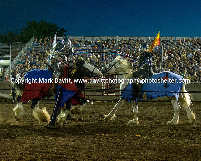 The Warren County Fair grandstand got very medieval July 27 when the nationally-known Knights of Valour performed a jousting tournament for a nearly packed house. The battle got underway as the Knights charged into each other to the shock and thrill of the crowd..