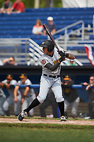 West Virginia Black Bears designated hitter Bligh Madris (7) at bat during a game against the Batavia Muckdogs on June 25, 2017 at Dwyer Stadium in Batavia, New York.  Batavia defeated West Virginia 4-1 in nine innings of a scheduled seven inning game.  (Mike Janes/Four Seam Images)