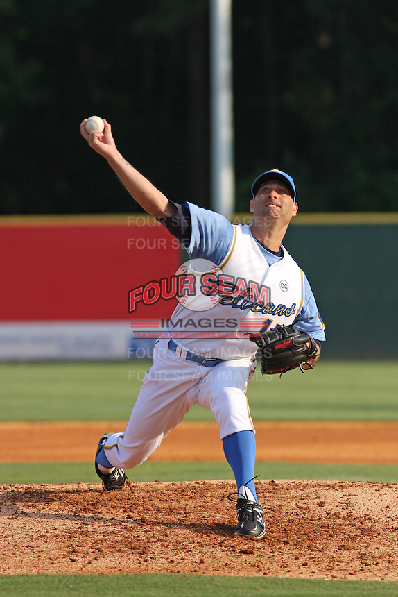 Atlanta Braves pitcher Tim Hudson pitching for the Myrtle Beach Pelicans on A rehabiltation assignment versus the Winston-Salem Dash on July 19, 2009.