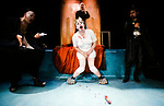 Graeae Theatre Company;<br /> UBU by Jarry;<br /> Adaptation by Trevor Lloyd;<br /> Jamie Bedard (as Ubu);<br /> Caroline Parker;<br /> Vicky Gee Dare (sign language interpreter, at rear);<br /> Simon Startin;<br /> Directed by Ewan Marshall;<br /> Premiere;<br /> at Oval House, London, UK;<br /> 8 December 1994;<br /> Credit: Patrick Baldwin