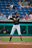 West Virginia Black Bears third baseman Mike Gretler (48) at bat during a game against the State College Spikes on August 30, 2018 at Medlar Field at Lubrano Park in State College, Pennsylvania.  West Virginia defeated State College 5-3.  (Mike Janes/Four Seam Images)