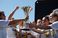 FC Gold Pride receive their trophy. FC Gold Pride defeated the Philadelphia Independence 4-0 to win the 2010 WPS Championship at Pioneer Stadium in Hayward, California on September 26th, 2010.
