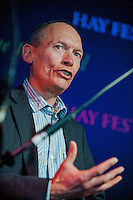Tuesday 27 May 2014, Hay on Wye, UK<br /> Pictured:  AM John Griffiths <br /> Re: The Hay Festival, Hay on Wye, Powys, Wales UK.