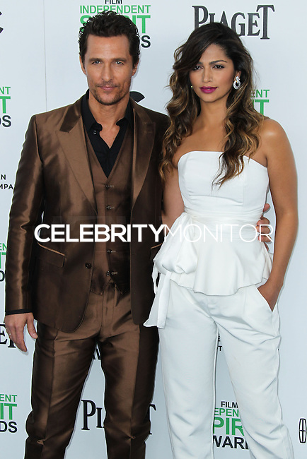 SANTA MONICA, CA, USA - MARCH 01: Matthew McConaughey, Camila Alves at the 2014 Film Independent Spirit Awards held at Santa Monica Beach on March 1, 2014 in Santa Monica, California, United States. (Photo by Xavier Collin/Celebrity Monitor)