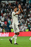 Real Madrid's Raphael Varane during La Liga match between Real Madrid and Atletico de Madrid at Santiago Bernabeu Stadium in Madrid, Spain. September 29, 2018. (ALTERPHOTOS/A. Perez Meca)