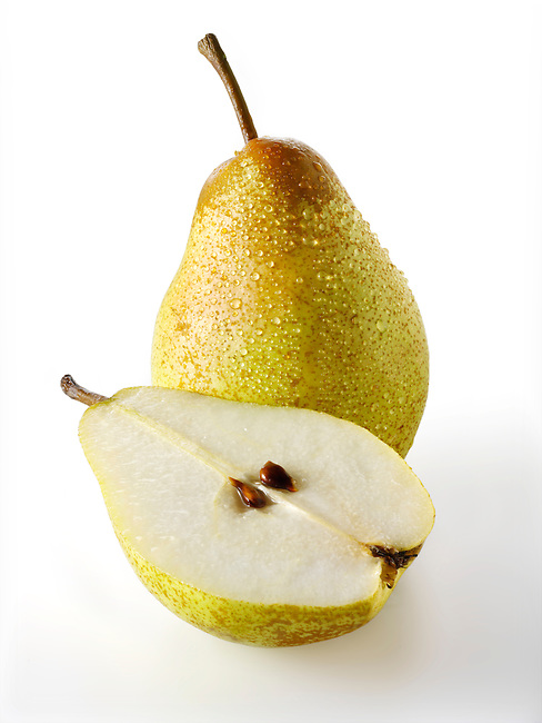 Fresh  comice pears whole and cut
