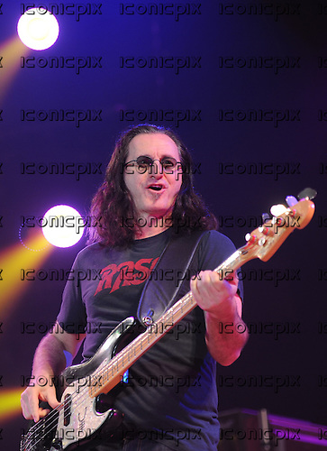 Rush - vocalist bass player Geddy Lee performing live on the Time Machine Tour at Festhalle in Frankfurt Germany - 29 May 2011.  Photo credit: Hans-Martin Issler/IconicPix